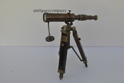 Nautical Antique Vintage Decorative Solid Brass Telescope with Wooden Tripod New