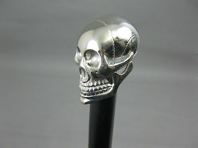 Brass Skull Chrome Head Handle Wooden Walking Stick Shaft Vintage Style Cane New