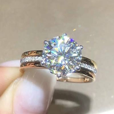 2.20Ct Round-Cut VVVS1/D Diamond 14K White Gold Finish Solitaire Engagement Ring