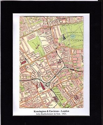 Antique MAP ~ KENSINGTON & ENVIRONS London ~ 1921 Bartholomew MOUNTED Original