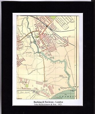 Antique MAP ~ BARKING & ENVIRONS London ~ 1921 Bartholomew MOUNTED Original