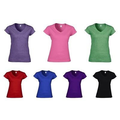 Gildan: Damen V-Neck T-Shirt Top Baumwolle Deluxe Softstyle T 64V00L New