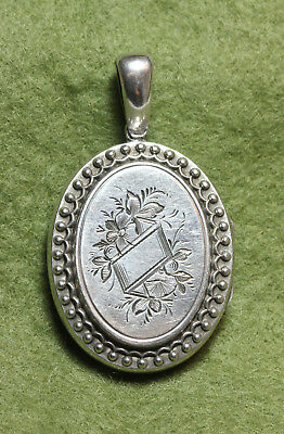 Large silver Victorian locket picture / photo pendant floral aesthetic movement