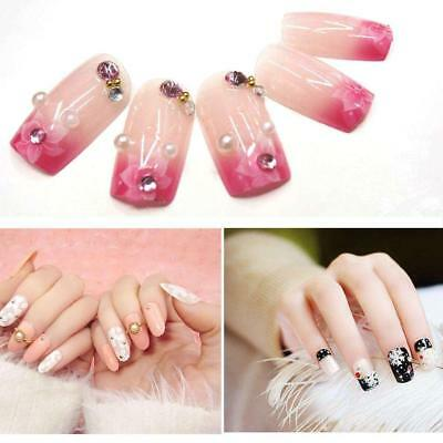 500x Long Coffin Opaque False Nails Press On Full Cover Fake Natural Tips Stick