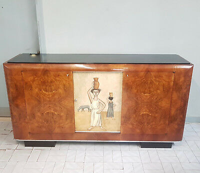 Original Italian Walnut Art Deco Cabinet Bar Sideboard From 1930-40 Restored