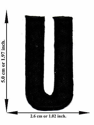 Alphabet U Black Color English Letter Applique Iron on Patch Sew For T-shirt