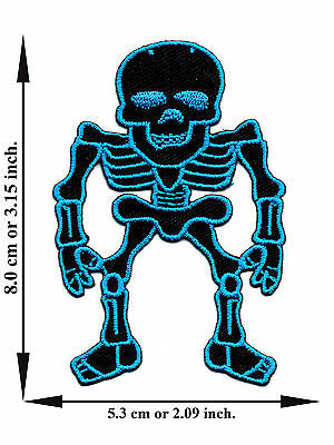 Blue Skull Bone Skeleton Biker Rock Applique Iron on Patch Sew Free Shipping