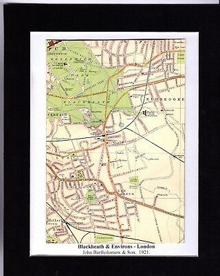 Antique MAP ~ BLACKHEATH & ENVIRONS London ~ 1921 Bartholomew MOUNTED Original