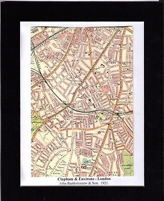 Antique MAP ~ CLAPHAM & ENVIRONS London ~ 1921 Bartholomew MOUNTED Original