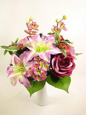 Pink Artificial Silk Flower Lily Rose Orchid Bush Mixed Table Floral Arrangement