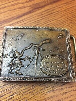 VINTAGE 1970s MICKEY MOUSE COMMEMORATIVE Award Of Merit BELT BUCKLE