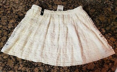 NEW WITH TAGS girls large ABERCROMBIE FANCY IVORY SKIRT lined LACE DESIGN