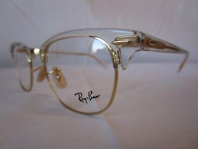 396f7c46410 Ray Ban Eyeglass Frame Clubmaster Rx5154 5762 Clear Gold 49-21-140 New  Authentic