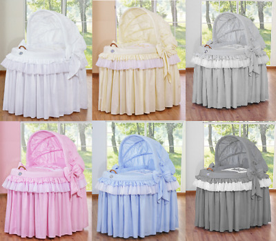 Little Prince/princess Baby Wicker Crib Moses Basket With Hood & Bedding