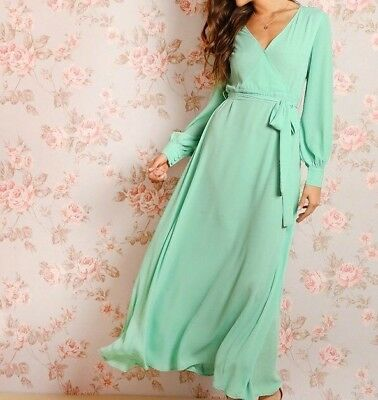 c05218ce21495 Green Bishop Sleeve Belted Surplice A-Line Fit and Flare Wrap Maxi Dress  Women