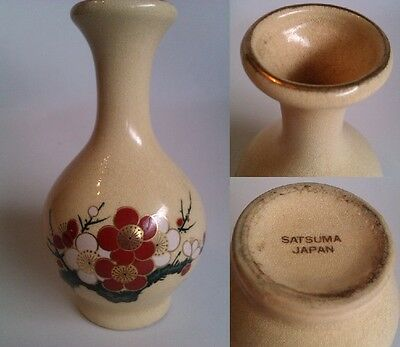 Jarron Antiguo Porcelana Satsuma Made In Japan Porcelain Pintado A Mano +Oro 22K