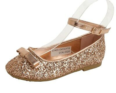 Girls Rose Gold Glitter Bridesmaid Wedding Evening Party Pumps Shoes Size