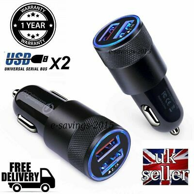 Dual USB 12V-24V 3.1A Mobile Phone Car Charger Adapter LED Display Charging UK