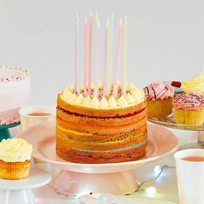 Pastel Coloured Birthday Candles Extra Long Party Cake X 16