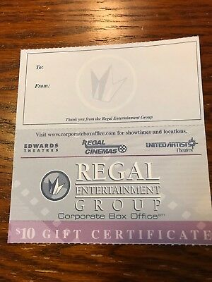 2 Regal Movie $10 Gift Certificates Good For Admission Tickets And Concession.