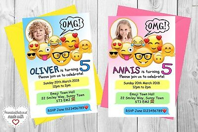 10 Personalised Emoji Movie Birthday Party Invitations Invites Themed Decor Kids