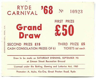 RYDE CARNIVAL 1968 Grand Draw Ticket original vintage Isle of Wight
