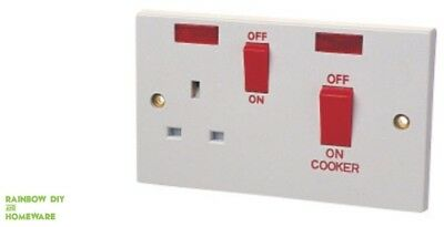 Cooker Panel 45A With 13A Socket & Pilot Lamp To BS4177 NEW Electrical Fitting