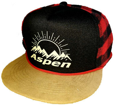 dc89f93b5aa Adult Aspen Colorado Buffalo Check Plaid Snapback Trucker Hat Cap Ski  Snowboard