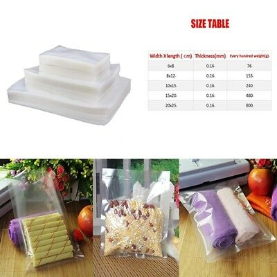 100Pcs Vacuum Food Storage Sealer Bag Space Packing Commercial Food Saver_5Size!