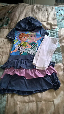 girl disney frozen 2 piece outfit leggings & hooded dress age 9-10