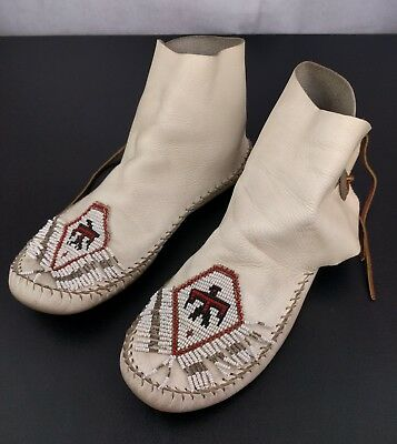 VTG White Leather Moccasins Hi Top Shoes Handmade Beads Native American Indian
