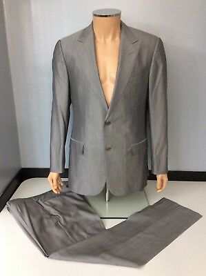 0016e71e6a928 ERMENEGILDO Z ZEGNA Grey Pinpoint 100% Wool fitted Suit 40 x 34 ...