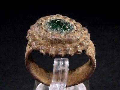IMPOSING BYZANTINE BRONZE RING  w/ GREEN GLASS STONE ON TOP+++