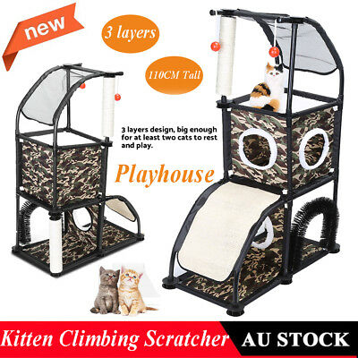 Cat Scratching Tree Scratcher Furniture House Toy Gym Pet Tower Play 1.1m Canvas