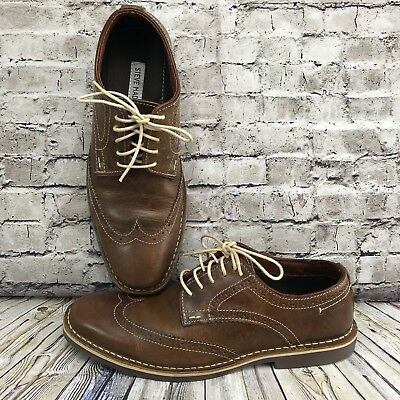 016575d9e9d STEVE MADDEN P-KAYAK Mens Brown Leather Casual Dress Lace Up Oxfords ...