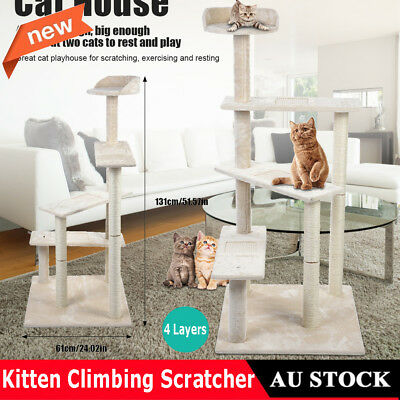 Cat Scratching Tree Scratcher Furniture House Toy Gym Pet Tower Play 131cm Beige