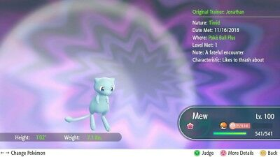 Pokemon Let's Go Shiny Mew 6IV / Max AV [FAST DELIVERY]