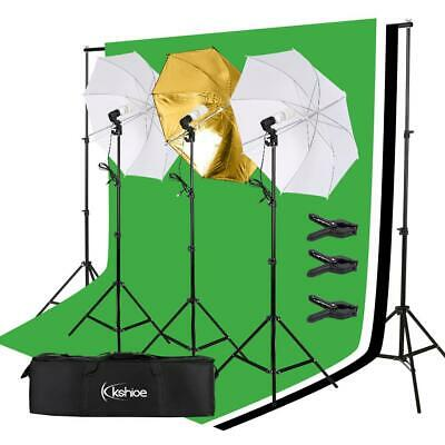 Kshioe Photo Pro Studio Lighting Photography 3 Muslin Backdrop Light Stand Kit