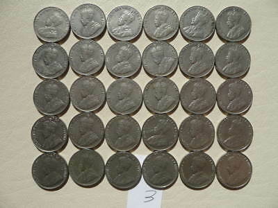 Lot of 30 Canada King George V Five Cents Nickel Coins - Lot 3