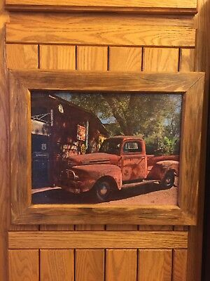 Handmade Primitive Country Framed Old Vintage Antique Rusty Red Truck Picture