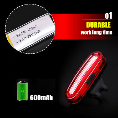 Bike Bicycle Cycling USB Rechargeable Front Rear Light 46 Modes LED Tail Lamp