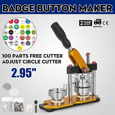 """75mm(3"""") Button Maker Rotate Machine 100Pcs Key Chains Pin Buttons Bags AU Stock"""