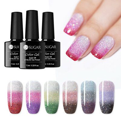 UR SUGAR Thermal Color Changing UV Gel Polish 7.5ml Glitter Soak Off Gel Varnish