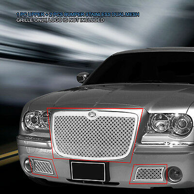 Stainless Steel Mesh Grille Front Grill Combo For Chrysler 300C 2005-2010