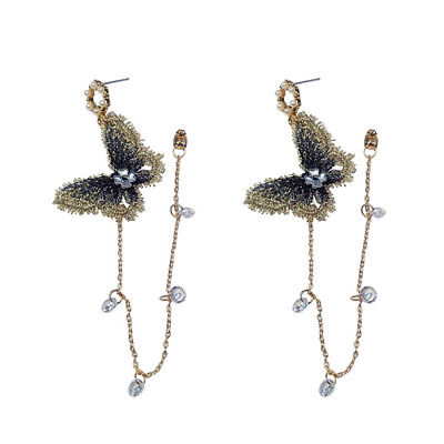 Fashion Embroidery Butterfly Crystal Tassel Drop Dangle Earrings Women Jewelry