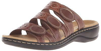 c74c6a6b07b8 New CLARKS Womens Leisa Cacti Slide Sandals Brown Leather 9.5 Adjustable  Shoes