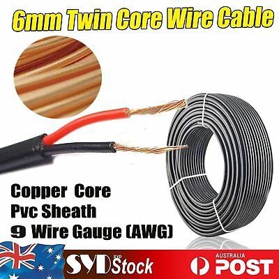 12V Twin 2 Core Wire Electrical Power Cable 6mm Automotive Marine Caravan 6Meter