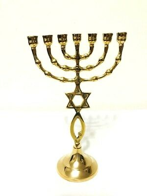 Vintage Gold Plated Menorah With Star Of David ,Made In Jerusalem Holy-Land