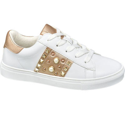 4ade26932e57 Deichmann Shoes Graceland girl Junior Girl Rose Gold Detail Casual Shoes  white