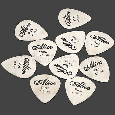 10Pcs 0.3mm Acoustic Rock Electric Bass Guitar Picks Plectrums Stainless Steel